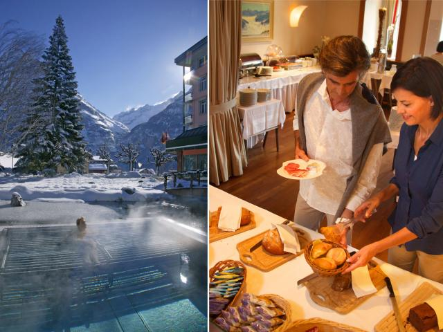 The cozy Sunday - extended breakfast buffet and wellness and spa entrance at the Hotel Belvedere Grindelwald